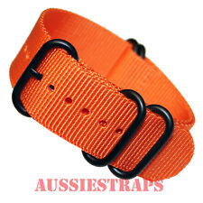 PREMIUM ZULU® PVD 5 Ring ORANGE 20mm,22mm,24mm Military Diver's watch strap band