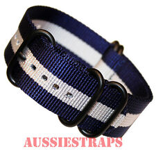PREMIUM ZULU® PVD 5 Ring NAVY SILVER WHITE Military Diver's watch strap band