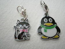 1 ENAMEL CAT OR 1 ENAMEL  PENGUIN  CLIP ON CHARM FOR CHARM BRACELETS