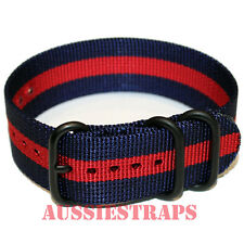 PREMIUM ZULU® PVD 3 Ring NAVY RED Military Divers watch strap band Heavy Duty