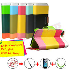Wallet Flip Leather Case Cover Pouch For iPhone 5 & 5S Free Screen Protector