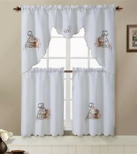 """3pc Chef Kitchen Window Embroidered Curtain Set Valence 60""""x30"""" Tiers 30""""x36"""""""