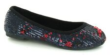 **SALE** Girl's Black and Red Sequined Ballerina Shoes. Party Wear. H2186