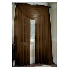 "SHEER / SCARF Window Treatments Curtains Drape Valances 63"" 84"" 95"" BROWN"