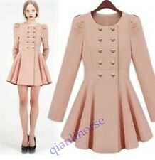 hot New Fashion women's double-breasted long coat Q