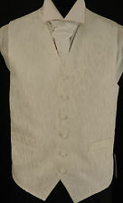 W-213. Cote d'Or pattern white wedding / dress / party waistcoat - size 42