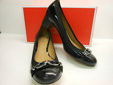 "NEW COACH TANDY 1 1/2"" BLACK PATENT HEELS WITH BLACK AND SILVER COACH BIT"