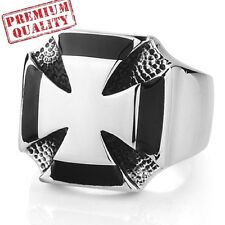 Vintage Men's Ring Iron Cross Medal World War II Titanium Steel Stainless Steel
