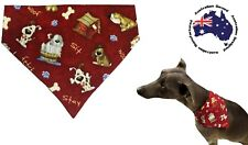 Dog Bandana S M L  Red Dog Print Slides on Collar Pet Fashion Clothes Neck Scarf