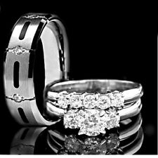 His & Hers 3 pcs Womens STAINLESS STEEL & Mens TITANIUM Wedding rings set bridal