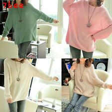 Korean Fashion Womens Batwing Knitted Pullover Jumper Casual Sweater  Blouse Top