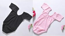 New Kids Girls Short Sleeve Ballet Gymnastics Bodysuit Dance Leotard 3-8Y Cotton