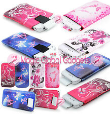STYLISH LEATHER PRINTED UNIVERSAL PULL UP SOCK CASE TAB POUCH FOR MOBILE PHONES