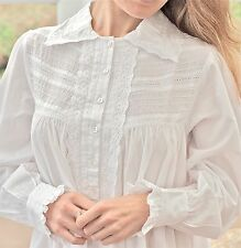 White Cotton Victorian Edwardian Florence Nightingale Plus Size Nightdress C451