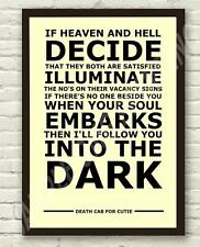 Death Cab For Cutie Follow You Lyrics Typography Art Poster Print A4 A3 Size