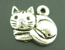 Wholesale Mixed Lots Silver Tone Lovely Cat Charms Pendants 15x13mm