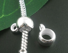 Wholesale Mixed Lots Silver Plated Smooth Bails Beads Fit Charm Bracelet 11x8mm