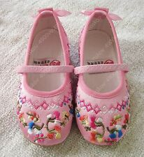 Chinese very pretty Traditional Pink Beijing Embroidery floral Fabric Shoe Girl