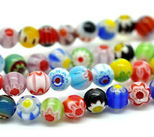 Wholesale Lots Millefiori Glass Lampwork Round Beads 6mm