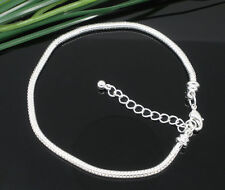 Wholesale Lots Silver Plated Snake Chain Charm Bracelets Fit Charm Beads 21cm