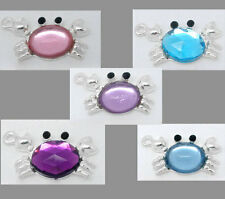 Wholesale Lots Mixed Silver Plated Acrylic Crab Charm Pendants 24x13mm