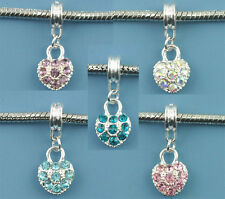 Wholesale Lots Mixed Rhinestone Heart Dangle Beads Fit Charm Bracelet 26x10mm
