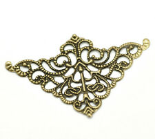 Wholesale Lots Bronze Tone Filigree Triangle Wraps Connectors 5cm x 3.2cm