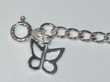 """925 Sterling Silver 3.2mm Curb Bracelet Anklet Chain Butterfly Charm 6"""" - 13"""""""