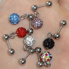 15mm Shamballa Crystal Ear Stud Earring Barbell Cartilage Tragus Body Piercing