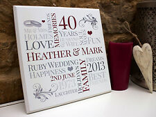 CUSTOM Personalised ANNIVERSARY Wedding Plaque Sign Print Unique Gift Idea