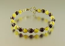 Wire Wrapped Handmade Gold Filled Garnet & Yellow Agate Bead Bracelet