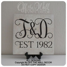 Couples Initials Monogram with Est. Year Vinyl Lettering Tile Decal