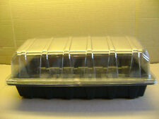 --10 FULL SIZE SEED TRAYS WITH OR WITHOUT HOLES + 10 CLEAR PROPAGATOR TOPS