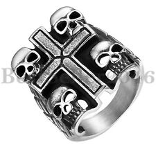 Mens Kills Caribbean Black Silver Stainless Steel Feathered Pirate Skull Ring