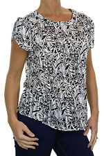 NEW (4031) Fine Voile Sateen Blouse Top Black Cream Jungle Print 8-18