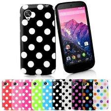 Polka Dots TPU Gel Case Cover for LG Google Nexus 5 & LCD Screen Protector