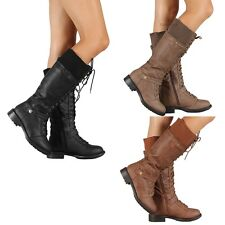New Womens Military Combat Fashion Boots Lace Up Knee High Low Flat Heel boot