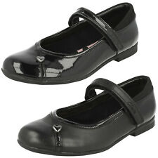 GIRLS CLARKS LEATHER RIPTAPE HEART PRINT FORMAL CASUAL SCHOOL SHOES DOLLY BABE