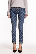 Current Elliott The Rolled Skinny Denim Indigo Rose Lattice mid-rise slouched