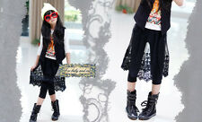1780 Boutique Full Length Cotton Pants Black Floral Lace Skirt Overlay So Chic