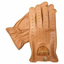 NEW TOP QUALITY REAL SOFT LEATHER MENS DRIVING FASHIION GLOVES RETRO TAN 7011