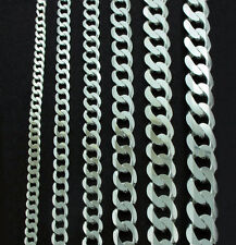 STERLING SILVER DIAMOND CUT D/C CURB LINK BRACELETS VARIOUS CHAIN LENGTHS