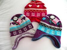 Girls Jacquard Winter Hat Choice of Colours White Red or Purple Size 2-6 Years