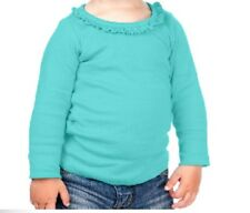 Blank Ruffle Trimmed Girls T Shirt 100% Cotton Long Sleeved Crafts COLORS