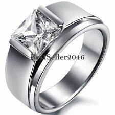 Stainless Steel Solitaire Square Cubic Zirconia Engagement Ring Wedding Band