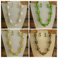 Beautiful & Elegant Glass Rondelle Crystal Beaded Necklace & Matching Earrings