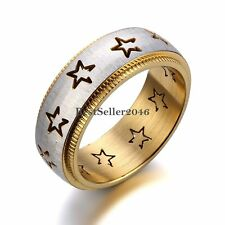 8mm Silver & Gold Tone Brushed Stainless Steel Eternity Stars Grooved Ring