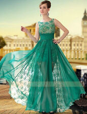 2014 Green Lace Chiffon Long Prom Evening Dress Bridal Party Formal Gowns Custom