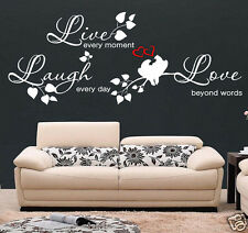 WALL QUOTE LIVE LAUGH LOVE / Wall Sticker / Wall Quote / Family wall sticker S50