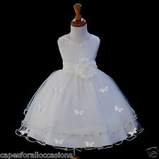 IVORY FLOWER GIRL WEDDING ROSE DRESS PAGEANT BUTTERFLY BRIDAL 6M-18M 2 4 6 8 10